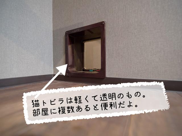 猫トビラは軽くて透明なものが通りやすい。あらかじめ部屋に複数つけておこう。